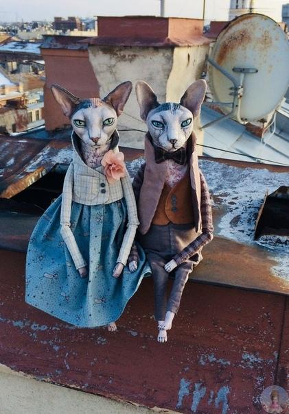 Реалистичные куклы кошек сфинксов от талантливой художницы Елены Алехиной.