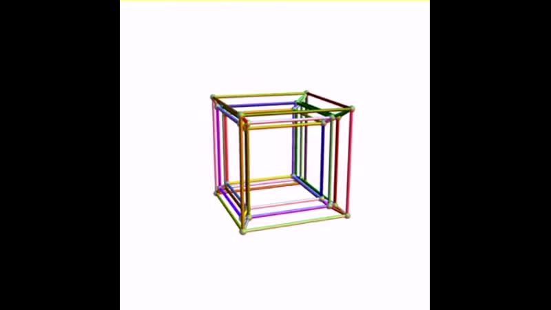 Animation of a 5D rotation of a 5-cube perspective projection to 3D.