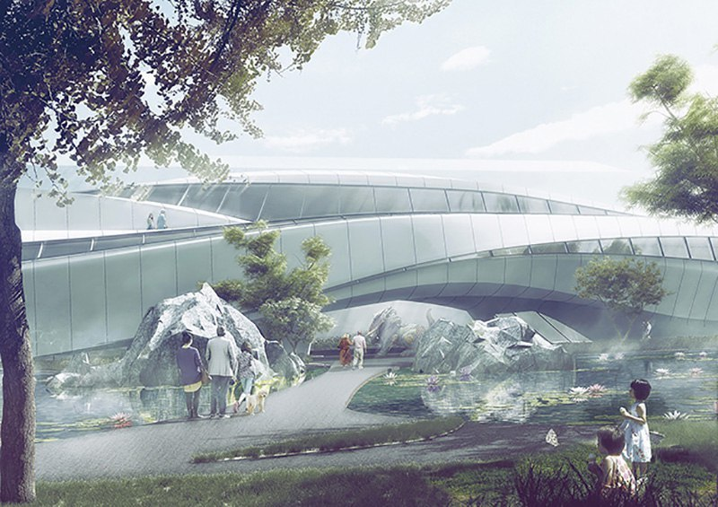 CAA's futuristic cloud-shaped proposal in korea embraces a sacred mountain within