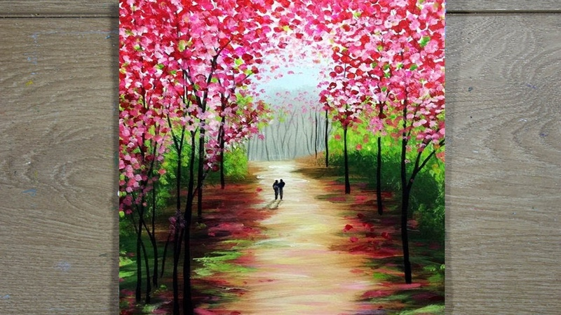Couple walking in Forest Easy Acrylic Painting for Beginners