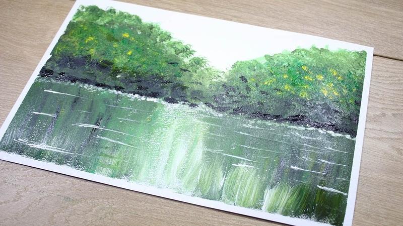 Простая Абстрактная Живопись Акрилом Landscape Easy Acrylic Painting
