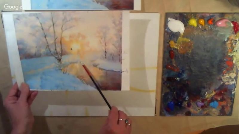 Зимний пейзаж свободная копия картины Дмитрия Лёвена акрил масло спикер Ирина Козьмина.