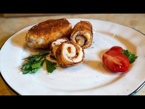 Куриные рулетики с ветчиной и сыром Оригинальное блюдо с незабываемым вкусом