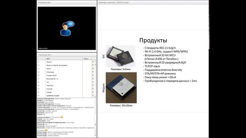 ESP8266 – Народный WiFi от Espressif Systems. Вебинар 19.02.2016