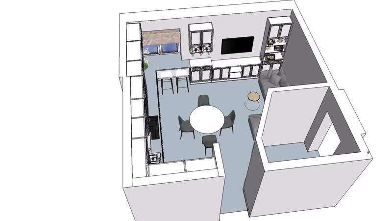 Стадия согласования кухни / гостиной в объёме...