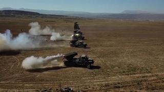 Стрельба из РСЗО «Торнадо-Г» артиллеристами Каспийской флотилии в Дагестане