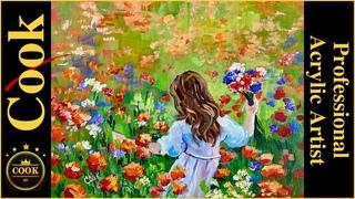 Field of Flowering Dreams Full Tutorial Acrylic Painting Plus a Quarantine Quickie #35