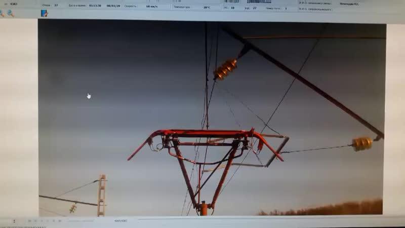 Излом ТКП вагон лаборатории контактной сети (ВИКС) , следовавшего в хвосте п.391 пер.Малоковали-Жанна (Заб.ж.д) вынос КП более П