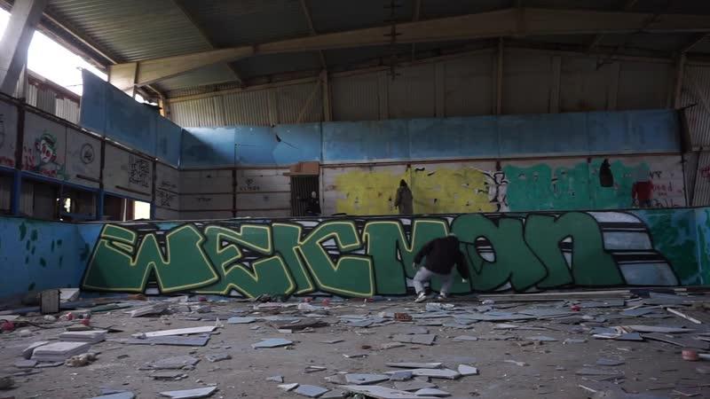 Graffiti on pool day map wek man