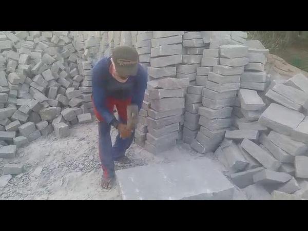 Profissional cortando pedra impressionante