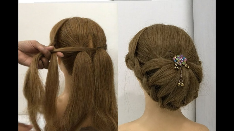 New Hairstyle for party or wedding with trick | cute Girls hairstyles | bun hairstyles | hairstyle