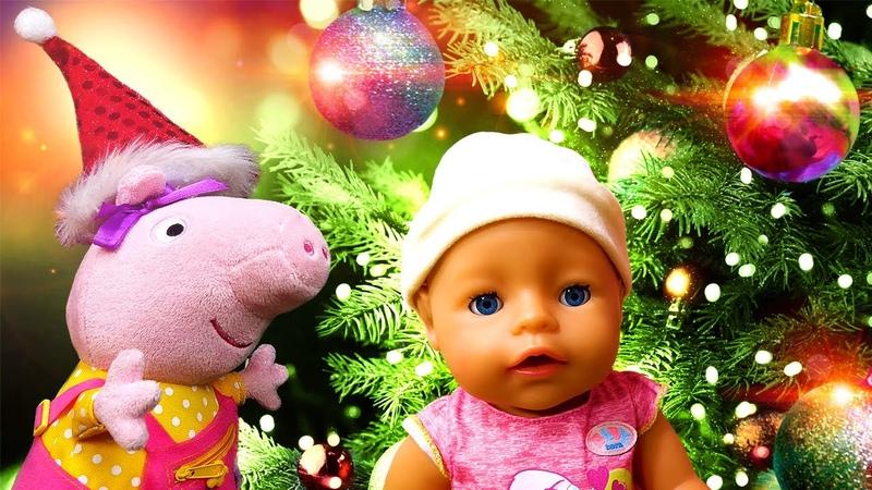 Le Noël avec Baby Annabell et Peppa pig. La décoration du sapin. Vidéo pour enfants.
