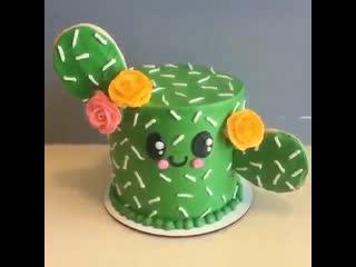 """Как декорировать торт в виде милого Кактуса. / Наша группа в ВК: """"Торты на заказ. Мировые шедевры""""."""