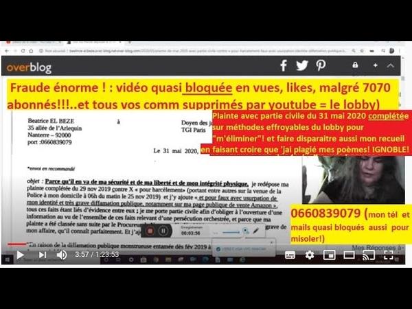 POUR MA SÉCURITÉ voir plainte et Preuves avec partie civile COMPLÉTÉE le 31 mai2020 prèsTGI Paris