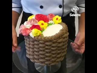 Кремовый декор торта Корзинка с цветами. / Наша группа в : Торты на заказ. Мировые шедевры