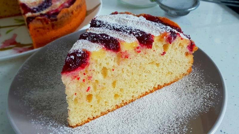 Пирог с Ягодным Конфитюром и Заварным Кремом Cake with Berry Jam and Custard