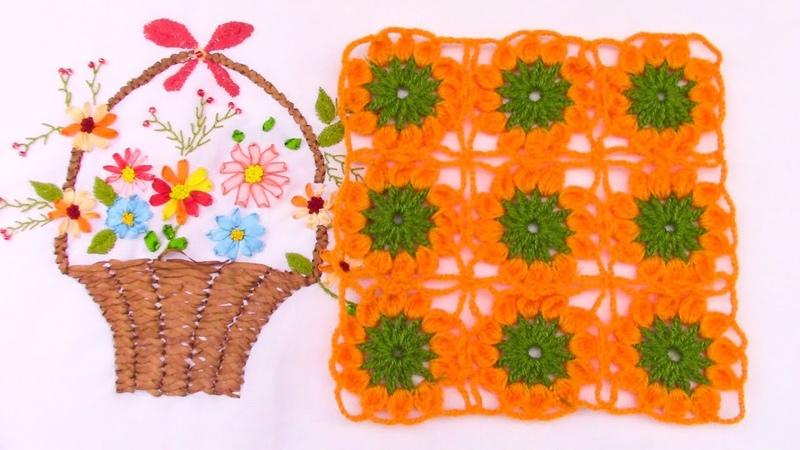 Motivo o pastilla a crochet de flores para aplicar en tapetes, centros de mesa, manteles y colchas