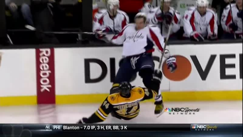 Dennis Seidenberg hit on Alex Ovechkin. Washington Capitals vs Boston Bruins 4_12_12 NHL hockey [lYARiSm71ws]