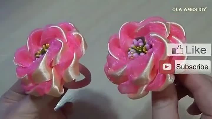Канзаши_Цветы из лент_Ribbon Flowers Tutorial_DIY Kanzashi_Flores de fita_Ola am