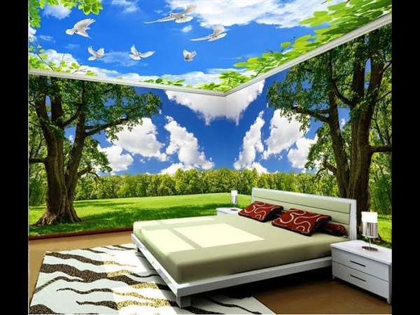 Desain Wallpaper Kamar Tidur Motif Awan Pegunungan Cantik Dan Sejuk