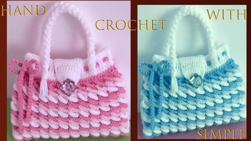 Bolso a crochet punto argollas de colores en 3D tejido a ganchillo muy fácil tallermanualperu