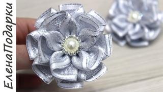 Зимний нарядный цветок из ленты  Flor de fita / DIY / Канзаши / Kansasi bow ЕленаПодарки МК