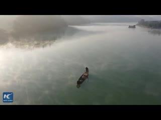 Раннее утро в национальном парке водно-болотных угодий Хунани.