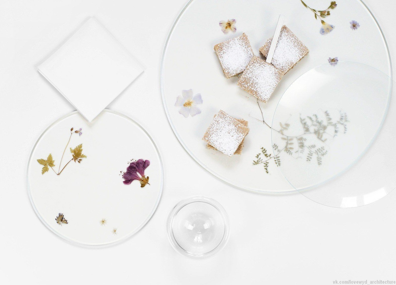 Pressed plants and colourful petals are frozen within these glass plates by German designer Meike Harde.