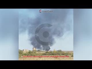 Военный вертолёт Ми-8 совершил жесткую посадку в Саратовской области и загорелся