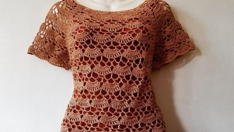 LasMaravillasdelCrochet ganchillo Blusa a Crochet Canesu Rectangular de abanicos