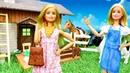 Barbie ailesi ile oyuncak videoları Barbie çiftlik için yeni kıyafet alıyor