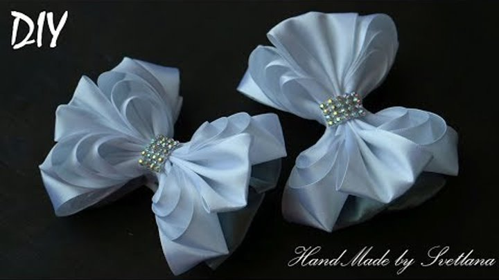 Бантики из лент ШКОЛЬНЫЕ КАНЗАШИ DIY Bows made of ribbon Kanzashi Laço de Cetim Curva da fita 8