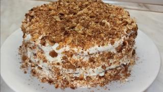 Быстрый торт на сгущёнке со сметанным кремом. Простой рецепт