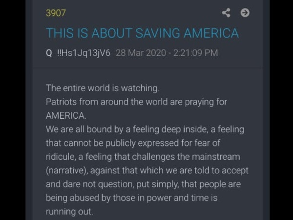 THIS IS ABOUT SAVING AMERICA Q Drop 3907 Narrated