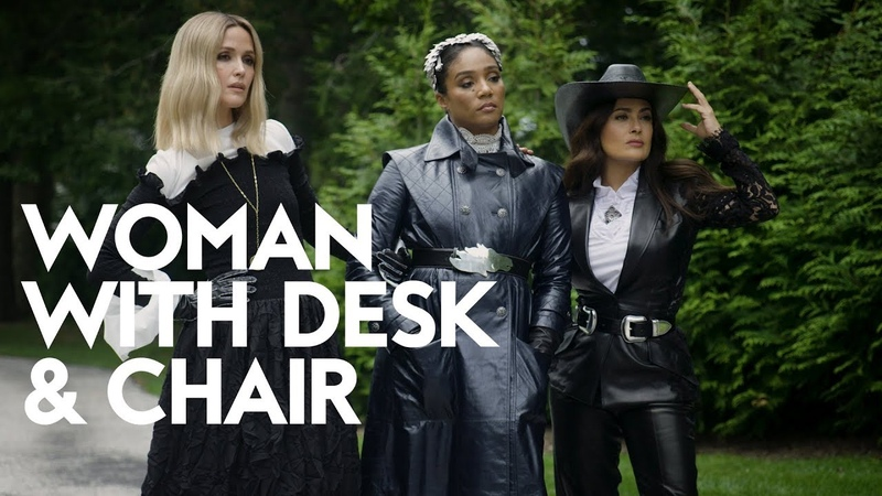 Salma Hayek Tiffany Haddish Rose Byrne on How to be A Boss Woman with Desk and Chair InStyle