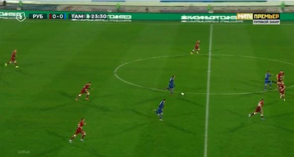 Типовая атака «Тамбова», Мелкадзе перехватывает мяч и организует атаку 3 в 4.