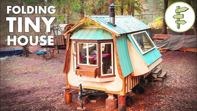 Amazing FOLDING Tiny House Built with Reclaimed Materials Full Tour