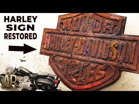 Harley Davidson Motorcycle Sign Restoration Old Cast Iron