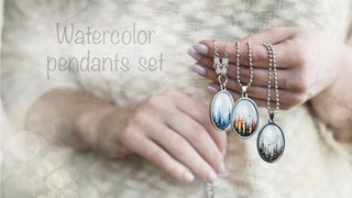 Watercolor pendant collection