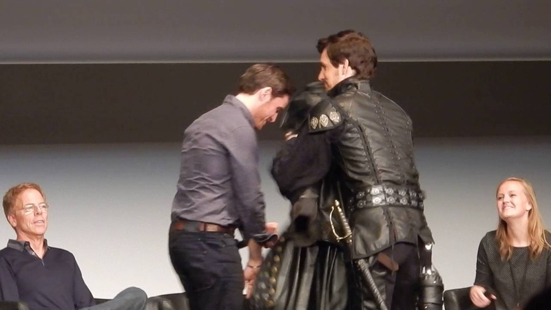 Q A at Fairytales IV Colin O'Donoghue trying Tom Abaud's jacket