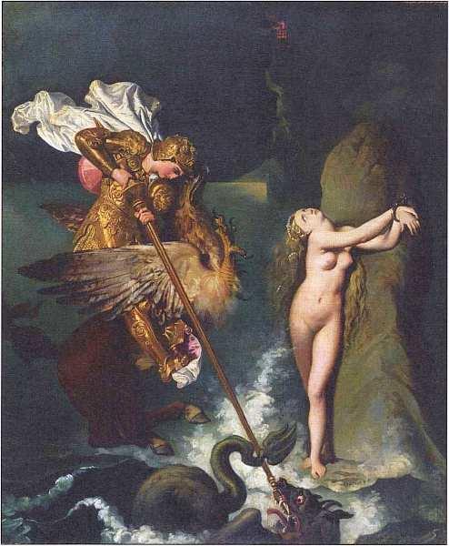 «Руджиеро, освобождающий Анжелику», Жан Огюст Доминик Энгр Есть два варианта картины Энгра с таким названием. Один находится в Париже, другой в Лондоне. 1819г. Холст, масло. Размер: 147×199 см.