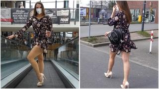 MINI DRESS, STOCKINGS and HIGH HEELS - Walk in Public | Kats little world