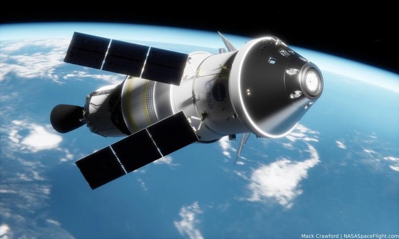 Orion с разгонным блоком и верхней ступенью ICPS на околоземной орбите. Предоставлено: Мак Кроуфорд для NSF.