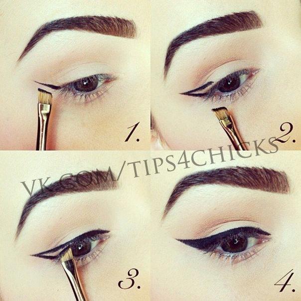 РИСУЕМ СТРЕЛКУ 1) Возьмите скошенную кисть (важно, чтобы кисть имела очень ровный край) и наберите на ее кончик небольшое количество гелевой подводки.2) Проведите тонкую линию от уголка глаза по