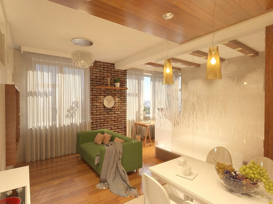 Проект квартиры почти 39 м с зонированием стеклянной перегородкой.