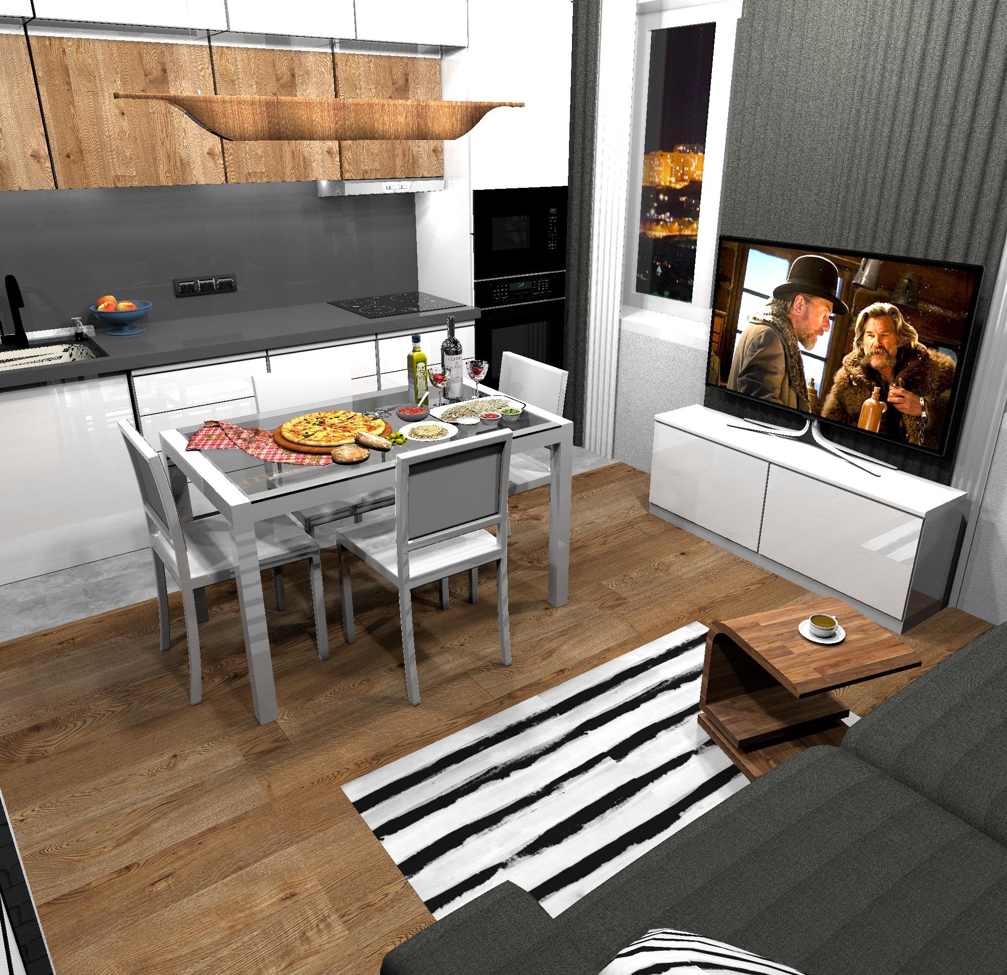 Проект комнаты (кухни-гостиной) 20 кв/м в квартире-студии.