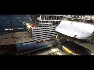 Строительство круизного лайнера длиной 347 метров и вмещающего 4246 пассажиров Spectrum of the Seas