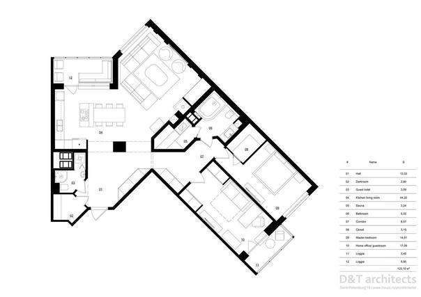 Трешка с серой кухней и камином в Питере  Метраж:...
