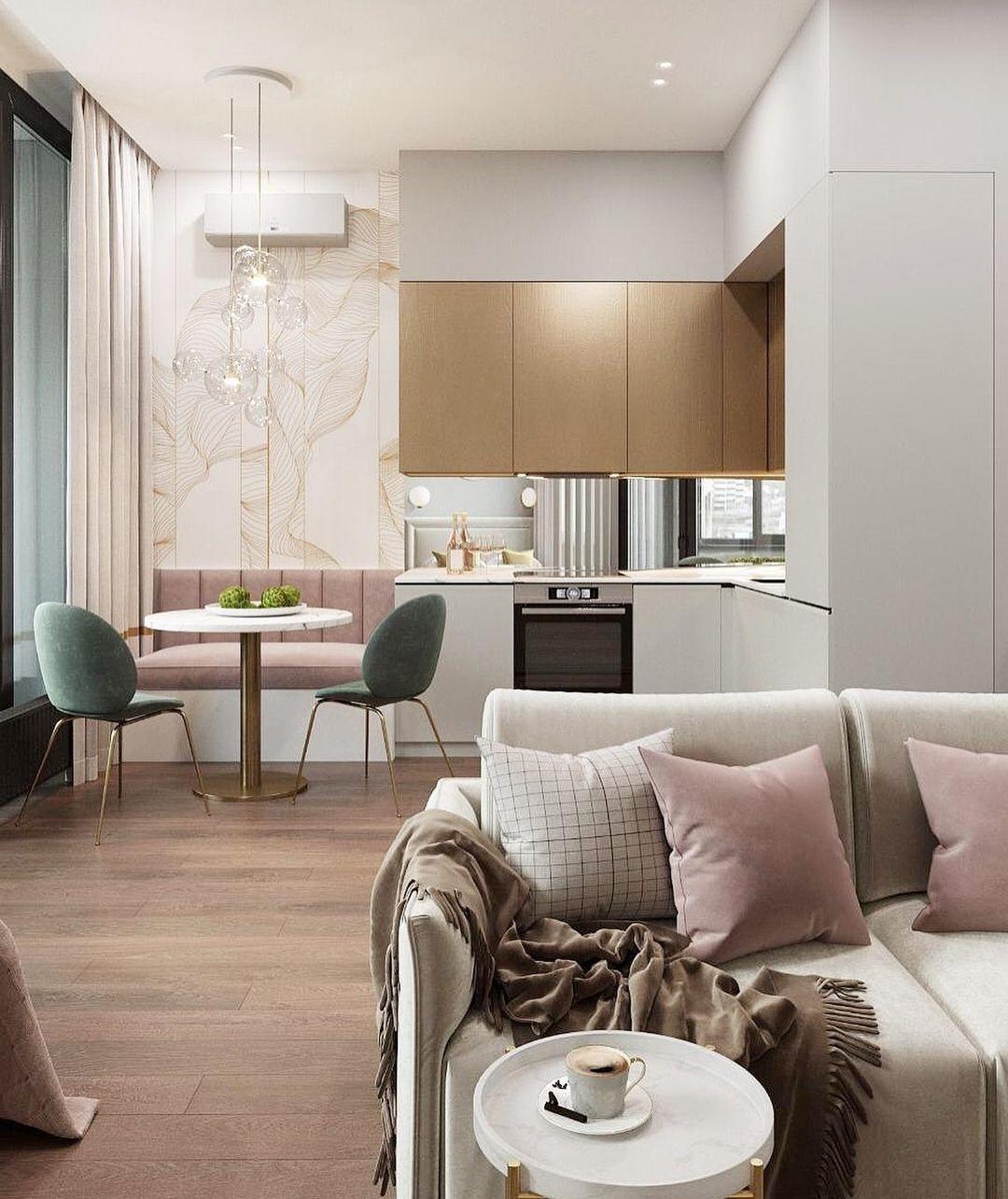Какой дизайн-проект больше нравится: в теплой (1, кровать у окна) или холодной (2, диван у окна) цветовой гамме?