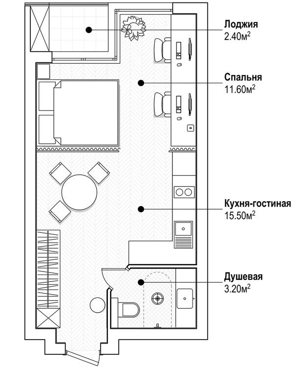 Дизайн квартиры-студии 30 кв.